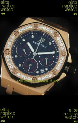 Audemars Piguet Royal Oak Offshore Lady Alinghi Swiss Watch in Black Checkered Dial