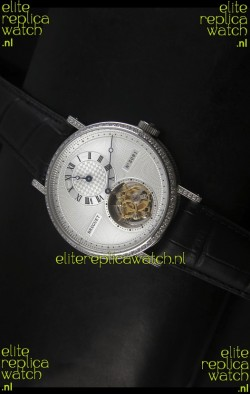 Breguet Classique Tourbillon Swiss Replica Watch in Stainless Steel with Diamonds Bezel