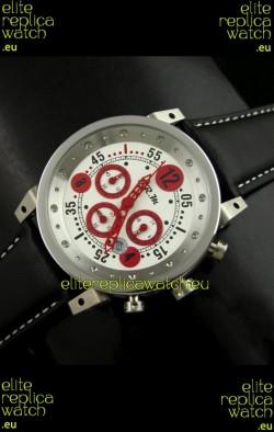B.R.M.0011G6 Japanese Replica Quartz Watch in White&Red Dial