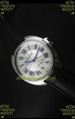 Cle De Cartier Watch 40MM Steel Case with Leather Steap - 1:1 Mirror Replica Watch
