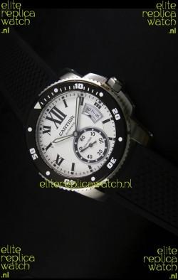 Calibre De Cartier Watch 42MM White Dial Steel Case -  1:1 Mirror Replica Watch