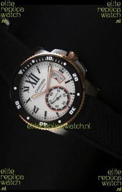 Calibre De Cartier Watch 42MM White Dial Two Tone Case -  1:1 Mirror Replica Watch