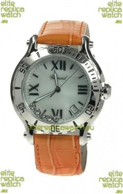 Chopard Happy Sport Diamonds Edition Replica Watch in White Pearl Dial