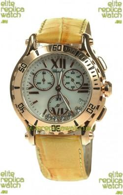 Chopard Happy Sport Diamonds Edition Replica Gold Watch in Yellow Strap