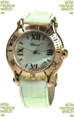 Chopard Happy Sport Diamonds Edition Replica Gold Watch in White Strap