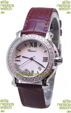 Chopard Happy Sport Star Shaped Diamonds Swiss Watch in Brown Strap