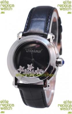 Chopard Happy Sport Star Shaped Diamonds Swiss Watch in Black Strap