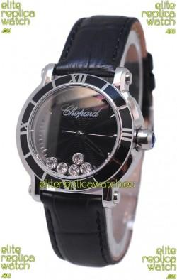 Chopard Happy Sport Star Shaped Diamonds Swiss Watch in Black Dial