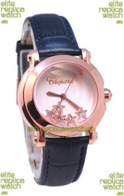 Chopard Happy Sport Star Shaped Diamonds Swiss Rose Gold Watch in White Dial