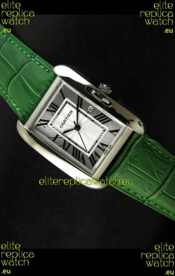 Cartier Tank Ladies Replica Watch in Steel Case/Green Strap