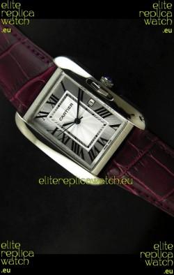 Cartier Tank Ladies Replica Watch in Steel Case/Maroon Strap