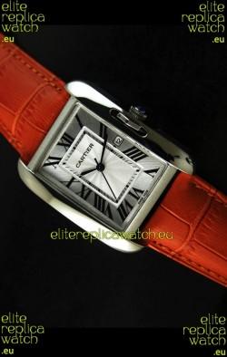 Cartier Tank Ladies Replica Watch in Steel Case/Orange Strap