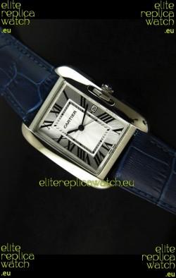 Cartier Tank Ladies Replica Watch in Steel Case/Purple Strap