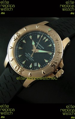 Chopard LUC Pro One Chronometer Swiss Replica Rose Gold Watch in Black Dial