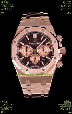 Audemars Piguet Royal Oak Chronograph Watch in Pink Gold Case Brown Dial