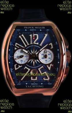 Franck Muller Vanguard Chronograph 18K Pink Gold Blue Dial Swiss Watch