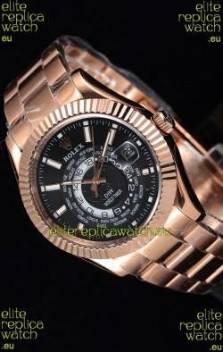 Rolex SkyDweller Swiss Watch in 18K Rose Gold Case - DIW Edition Black Dial