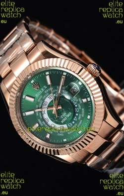 Rolex SkyDweller Swiss Watch in 18K Rose Gold Case - DIW Edition Green Dial