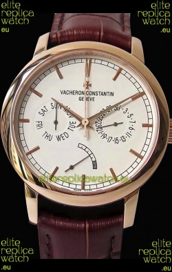 Vacheron Constantin Traditionnelle Day Date Pink Gold Swiss Replica Watch