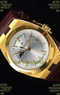 Vacheron Constantin Overseas MoonPhase Yellow Gold Swiss Watch in Brown Strap