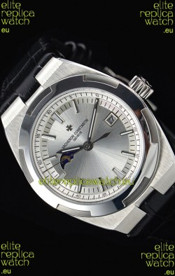 Vacheron Constantin Overseas MoonPhase Stainless Steel Swiss Watch in Black Strap