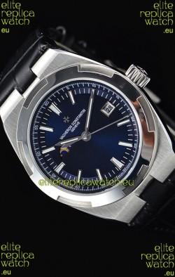 Vacheron Constantin Overseas MoonPhase Stainless Steel Swiss Watch in Blue Dial