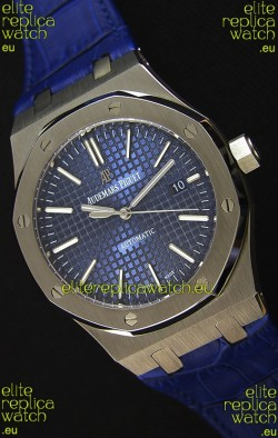 Audemars Piguet Royal Oak 41MM Blue Dial Leather Strap  - 1:1 Mirror Ultimate Edition