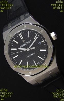 Audemars Piguet Royal Oak 41MM Black Dial Leather Strap - 1:1 Mirror Ultimate Edition
