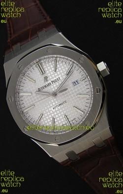 Audemars Piguet Royal Oak 41MM Silver Dial Leather Strap - 1:1 Mirror Ultimate Edition
