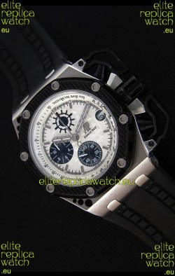 Audemars Piguet Royal Oak Survivor Chronograph Swiss Quartz Watch in White Dial