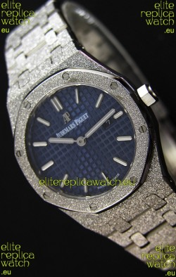 Audemars Piguet Royal Oak Frosted White Gold QUARTZ Watch Navy Blue 33MM - 1:1 Mirror Replica
