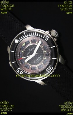 Blancpain 500 Fathoms Swiss Replica Watch in Grey Carbon Dial - 1:1 Mirror Edition