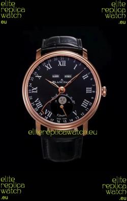 "Blancpain ""Villeret Quantième Complet"" 904L Steel Rose Gold Watch in Black Dial"