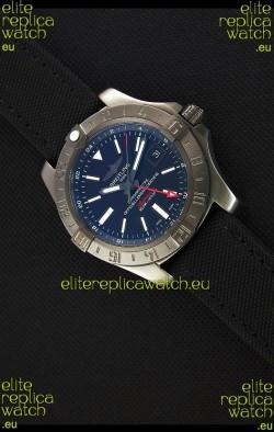 Breitling Avenger II BlackSteel GMT Swiss Replica Watch Nylon Strap 1:1 Mirror Replica Watch