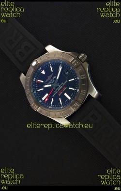 Breitling Avenger II BlackSteel GMT Swiss Replica Watch Rubber Strap 1:1 Mirror Replica Watch