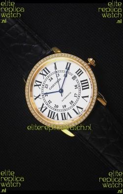 "Cartier ""Ronde De Cartier"" Yellow Gold Case watch with Lab Created Diamonds Bezel"