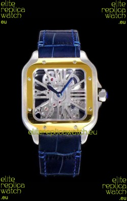 Cartier Santos DUMONT Skeleton Watch in Two Tone Bezel Swiss Replica Watch