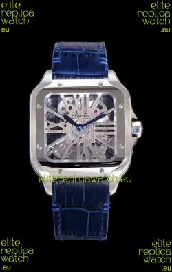 Cartier Santos DUMONT Skeleton Watch in Stainless Steel Swiss Watch