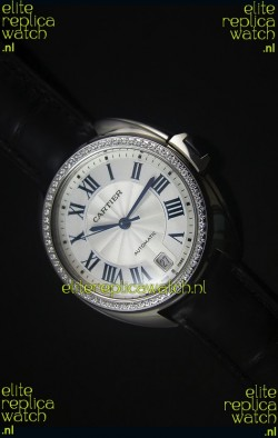 Cle De Cartier Watch 40MM Steel Case Diamonds Bezel - 1:1 Mirror Replica Watch