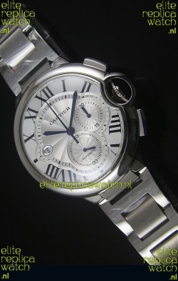 Ballon De Cartier Chronograph in Stainless Steel Case White Dial - 1:1 Mirror Replica
