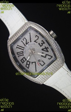 Franck Muller Vanguard Swiss Replica Watch in Diamonds Encrusted Dial