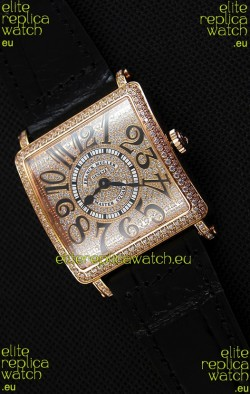 Franck Muller Master of Sqaure Ladies Quartz Replica Watch in Pink Gold Case