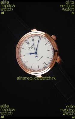 Glashuette Senator Excellence Cream Dial Rose Gold Case Swiss Watch