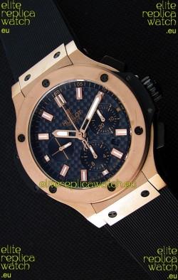 Hublot Big Bang Carbon Dial Pink Gold Case Swiss Replica Watch : 1:1 Mirror Replica