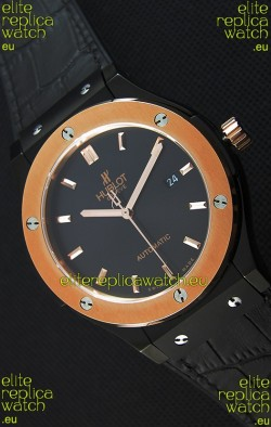 Hublot Classic Fusion Ceramic King Gold Black Dial Swiss Replica Watch - 1:1 Mirror Replica