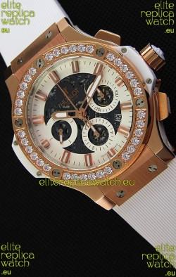 Hublot Big Bang Diamonds Bezel Watch in Pink Gold Case Swiss Replica Watch