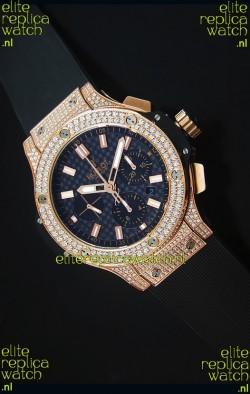Hublot Big Bang Carbon Dial Diamonds Studded Rose Gold Swiss Watch