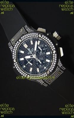 Hublot Big Bang Carbon Dial Diamonds Studded PVD Case Swiss Watch