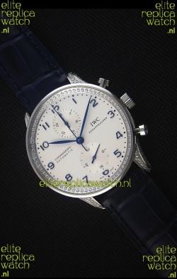 IWC Portuguese Chronograph White Dial with Diamonds 1:1 Mirror Replica Watch