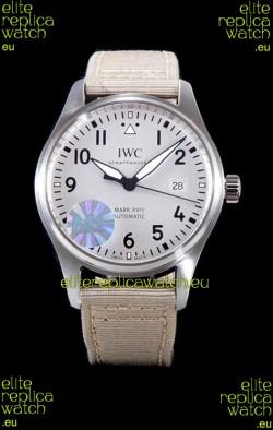 IWC Pilot's MARK XVIII Aviator 1:1 Swiss Watch in 904L Steel Case - Beige Nylon Strap